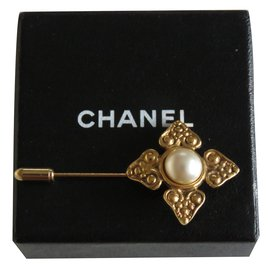 Chanel-Broche Trèfle-Doré