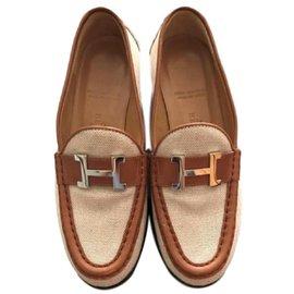 Hermès-Vintage Khaki Loafers shoes-Beige