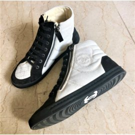 Chanel-Black suede and white canvas lace up sneakers-Black,White