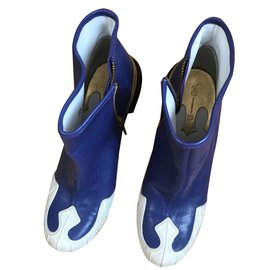 Yohji Yamamoto-Bottines-Noir,Blanc,Bleu
