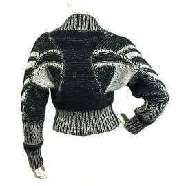 Gucci-Cardigan 100% cachemire-Noir,Blanc