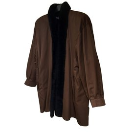Yves Saint Laurent-Manteau-Marron