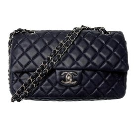 Chanel-Sac intemporel double à rabat-Bleu Marine
