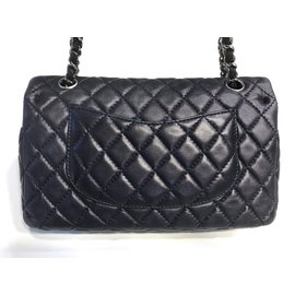 Chanel-Timeless Medium Double Flap Bag-Navy blue