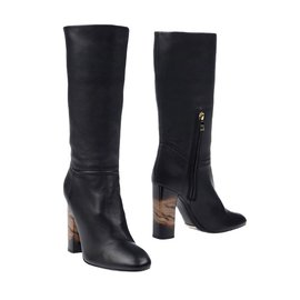 Burberry-Leather boots-Black