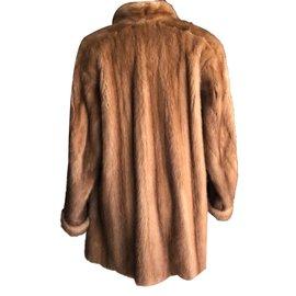 Autre Marque-Manteau fourrure vison marron clair-Marron