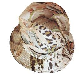 Salvatore Ferragamo-Joli chapeau-Imprimé léopard,Marron clair