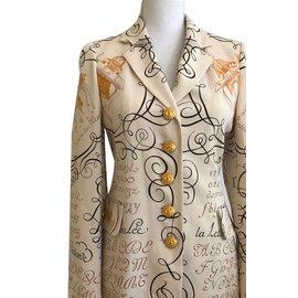Hermès-Veste en soie-Multicolore,Beige