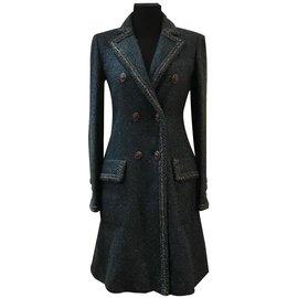 Chanel-fantasy tweed sheer coat-Blue