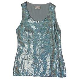 Chanel-Paillette Top-Bleu clair