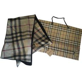 Burberry-echarpe cachemire coton check beige noir-Noir,Beige
