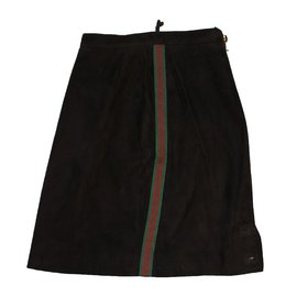 Chanel-Suede skirt-Brown