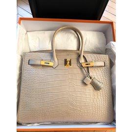 Hermès-Birkin 35 Alligator Mat Beton-Beige