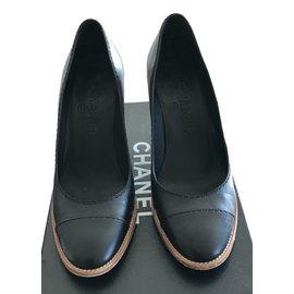 Chanel-Escarpins compensés-Noir