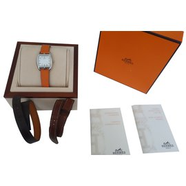 Hermès-MONTRE CAPE COD TONNEAU 3 BRACELETS-Marron,Orange,Marron foncé