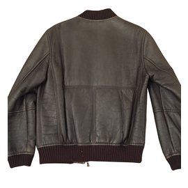 Hugo Boss-Bomber leather jacket-Brown