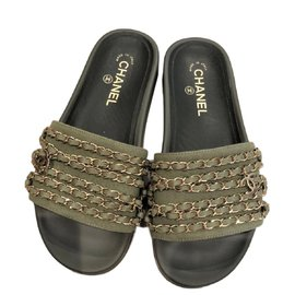 Chanel-olive green chain slides slippers-Olive green
