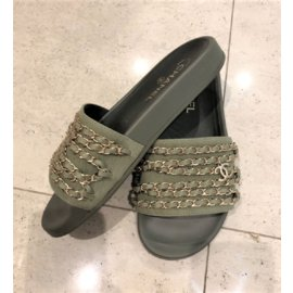 Chanel-Chaussons Coulisses Vert Olive-Vert olive