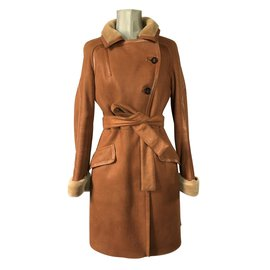 Céline-Celine leather coat-Beige,Caramel