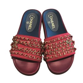 Chanel-Red Satin Chain Slides slippers-Red