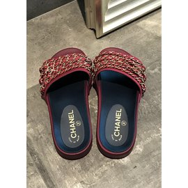 Chanel-Chaussons Coulisses Red Satin Chain-Rouge
