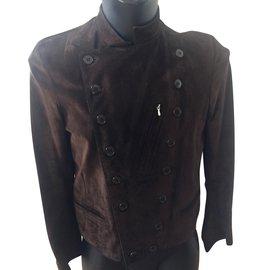 blouson fifre noir à col droit en cuir