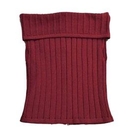 Chanel-Burgundy off shoulder wool knit top-Dark red