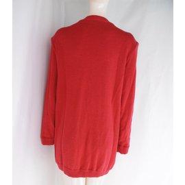 Yves Saint Laurent-Angora Wool Cardi Coat-Red
