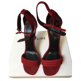Céline-Sandales en daim rouge-Rouge