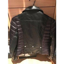 Moncler-leatner puffer jacket-Black