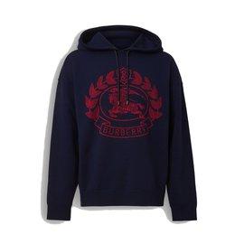 7f04a58f630c Burberry-burberry Sweat à capuche en jacquard de laine mérinos mélangée avec  écusson-Rouge ...