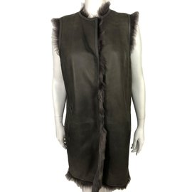 Yves Salomon-Sleeveless coat-Grey