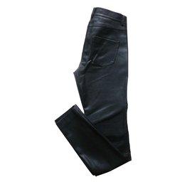 ec362efb321a1 ... Zara-Pantalon de motard en faux cuir-Noir