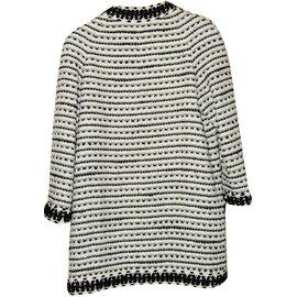 Chanel-Veste en tweed-Noir,Blanc cassé