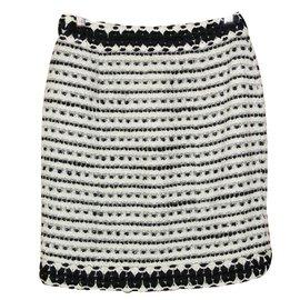 Chanel-Straight tweed skirt-Black,Eggshell