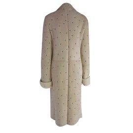 Gianni Versace-Manteau En Peau De mouton Brodé-Beige