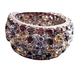 Autre Marque-Bracelet rigide en argent 925 rhodie' et pierres semi precieuses-Argenté