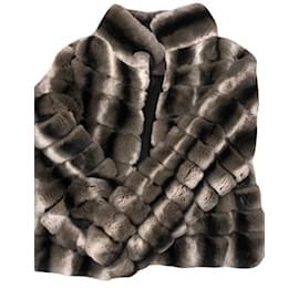 Autre Marque-Manteau de fourrure de chinchilla-Multicolore