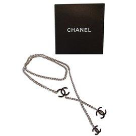 Chanel-Ceintures-Noir,Argenté