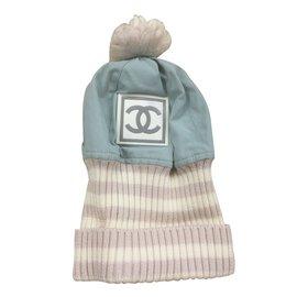 Chanel-Chapeaux-Blanc,Bleu clair