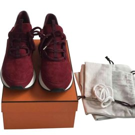 Hermès-Sneakers-Dark red