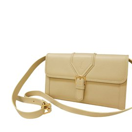 Yves Saint Laurent-Lizard Stamped Shoulder Bag-Beige ... f65c2407af203