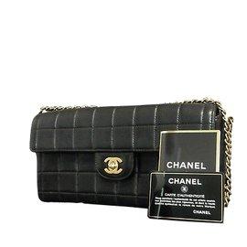 Chanel-Chocolate Bar Calfskin Black-Black