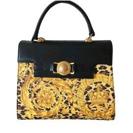 Gianni Versace-Gianni versace Kelly baroque medusa bag-Black,Yellow