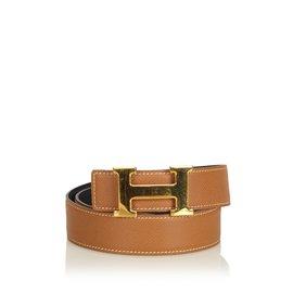 Hermès-Constance Belt-Brown,Golden