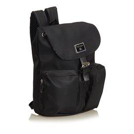 Burberry-Nylon Drawstring Backpack-Black