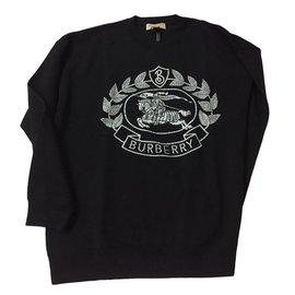 Burberry-Pull en jacquard de laine mérinos mélangée avec écusson-Noir
