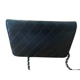 Chanel-portefeuille sur chaîne-Noir