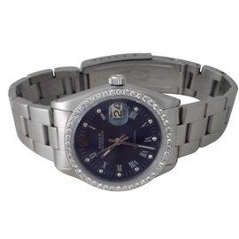 Rolex-Acier et Diamant-Bleu foncé