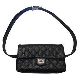 Chanel-Pochette-ceinture en cuir 2.55-Noir